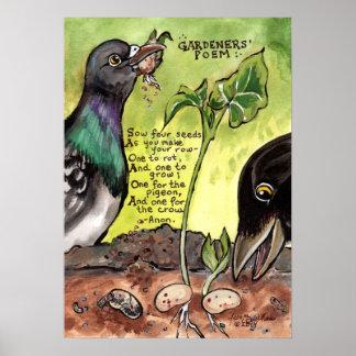Sementes do pombo do corvo do poster do poema da