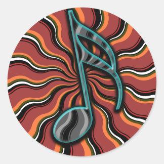 Semiquaver anca - 16o símbolo de música da nota adesivo em formato redondo