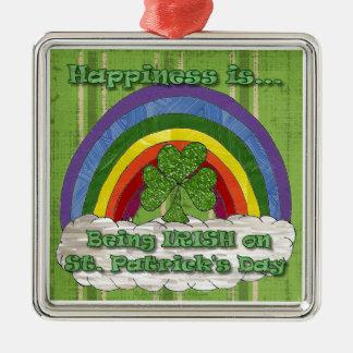 Sendo irlandês no Dia de São Patrício Ornamento Quadrado Cor Prata