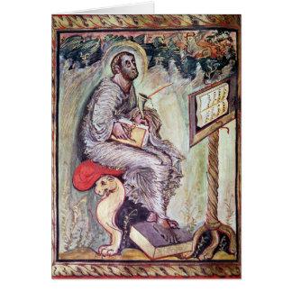 Senhora 1 fol.90v St Luke, dos evangelho de Ebbo Cartão Comemorativo