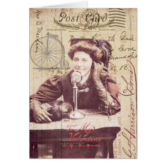 Senhora Antiguidade Estilo Colagem do dia dos Cartão Comemorativo