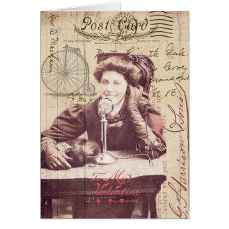 Senhora Antiguidade Estilo Colagem do dia dos namo Cartão Comemorativo