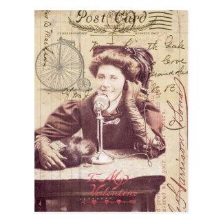 Senhora Antiguidade Estilo Colagem do dia dos namo Cartão Postal
