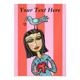 Senhora Bluebird Coração Amor da arte popular da