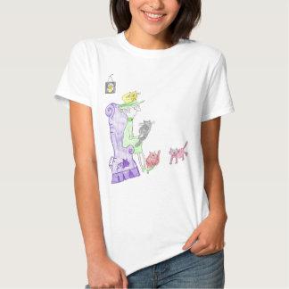 senhora camisa do gato do dat t-shirt
