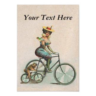 Senhora Cão Bicicleta do Victorian do vintage