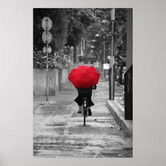 Senhora Ciclista com um guarda-chuva vermelho, Flo Pôster