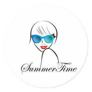 Senhora com estilo por horas de verão convite quadrado 13.35 x 13.35cm