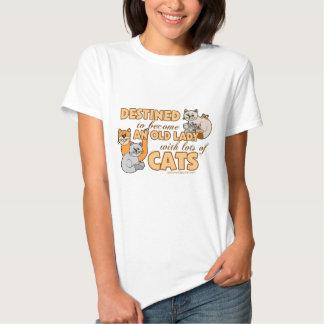 Senhora Com Lote dos gatos Tshirts