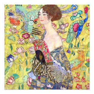 Senhora com o fã por Gustavo Klimt chá de panela Convite