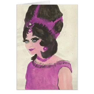Senhora cor-de-rosa cartão