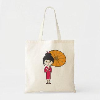 Senhora da gueixa dos desenhos animados sacola tote budget