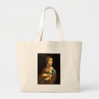 Senhora da pintura de Da Vinci original com um Bolsa Tote Grande