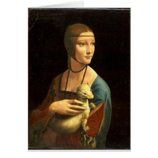 Senhora da pintura de Da Vinci original com um Cartão