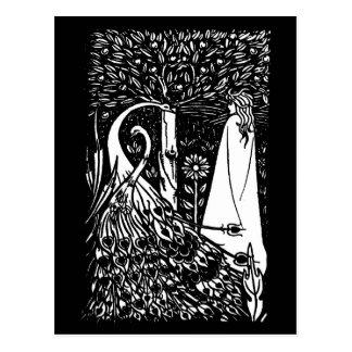 Senhora de Beardsley Nouveau & cartão dos pavões