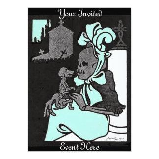 Senhora de esqueleto e seu convite do cão