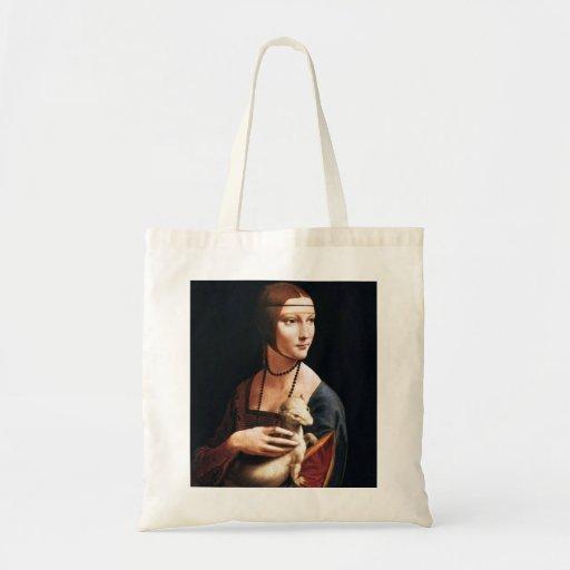 Senhora de Leonardo da Vinci com a sacola do armin Bolsas Para Compras
