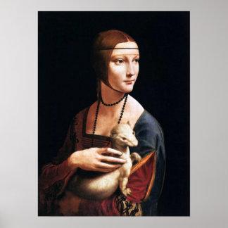Senhora de Leonardo da Vinci com um poster do armi Pôster