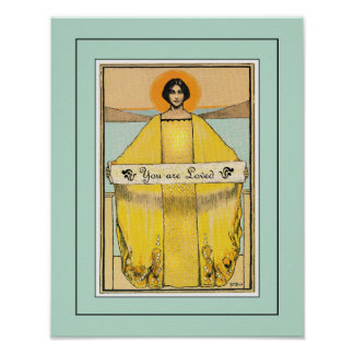 Senhora de Nouveau do vintage com impressão da