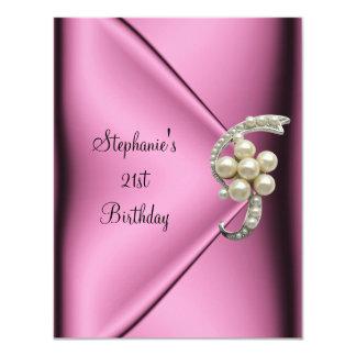 Senhora de seda cor-de-rosa Menina da jóia da Convite 10.79 X 13.97cm