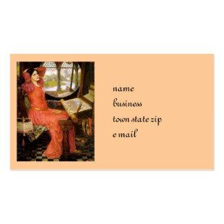 Senhora de Shalott que senta-se em sua mesa Modelo Cartoes De Visitas
