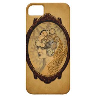 Senhora de Steampunk, asas e faces do relógio Capa Barely There Para iPhone 5