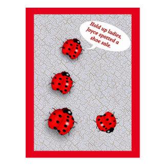 Senhora Desinsetar Calçar Venda Engraçado Cartões Postais