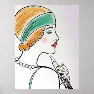 Senhora do art deco com clarinete posters