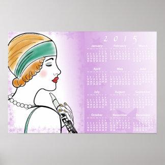 Senhora do art deco com o calendário de parede do posters