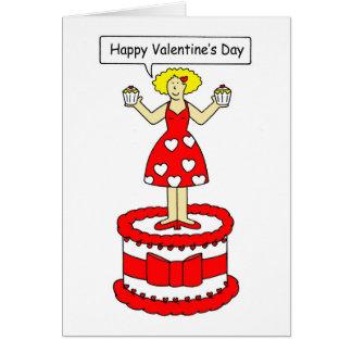 Senhora do dia dos namorados no grande bolo cartoes