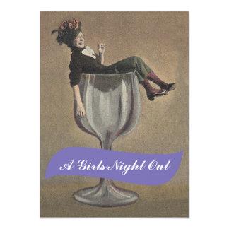 Senhora do divertimento das meninas da noite nos convite 11.30 x 15.87cm