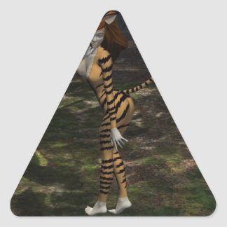 Senhora do gato adesivo triangular