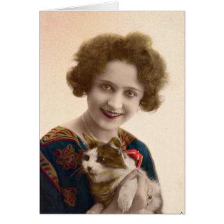Senhora do gato - foto do francês do vintage cartão