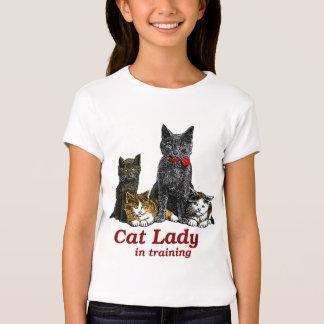 Senhora do gato no treinamento t-shirts