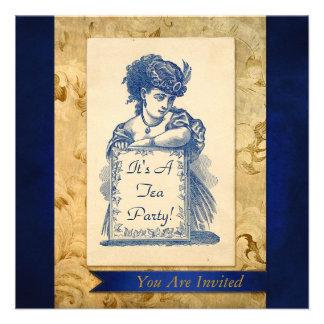 Senhora do Victorian do vintage com o cartão do co