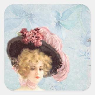 Senhora do Victorian em etiquetas emplumadas do Adesivo Quadrado