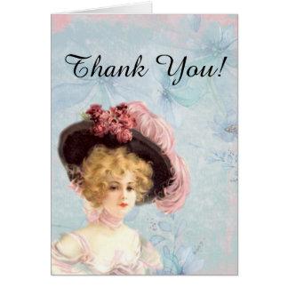 Senhora do Victorian no cartão de nota emplumado