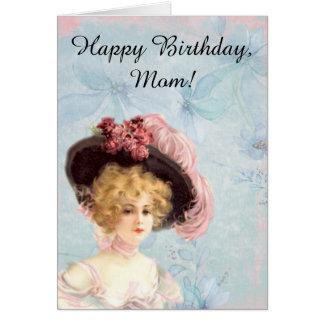 Senhora do Victorian no cartão emplumado do chapéu