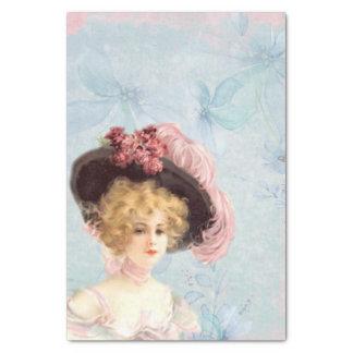 Senhora do Victorian no lenço de papel emplumado