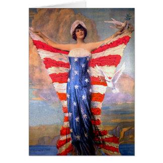 Senhora do vintage da bandeira americana cartão