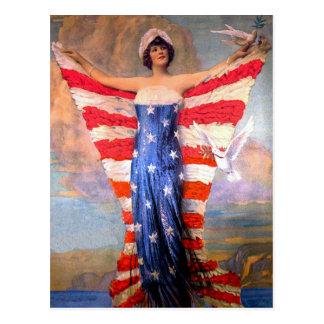 Senhora do vintage da bandeira americana cartão postal