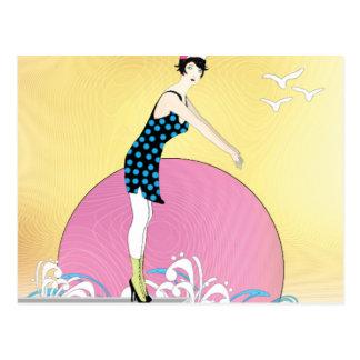 Senhora doce do nadador do art deco cartão postal