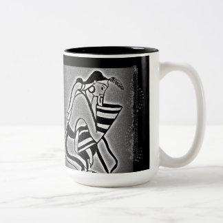 Senhora e andorinhas de Minoan Caneca De Café Em Dois Tons