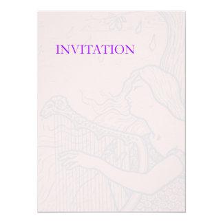 Senhora e harpa desvanecidas convite personalizado