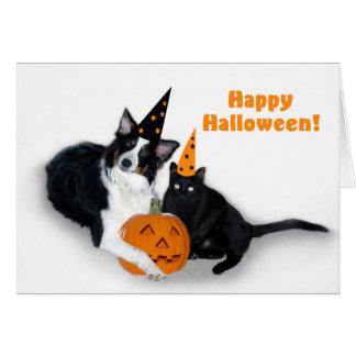 Senhora e o Dia das Bruxas feliz assustador Cartão Comemorativo