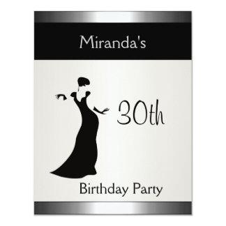 Senhora elegante 2 da festa de aniversário de convite 10.79 x 13.97cm