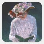 Senhora elegante Leitura do Victorian das belas ar Adesivos