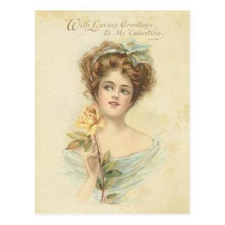 Senhora elegante rosa amarelo do dia dos namorados cartão postal