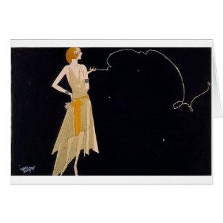 Senhora elegante Smoking, cartão