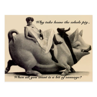 Senhora engraçada do cartão do vintage que monta